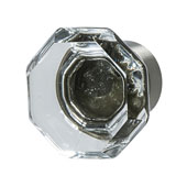 Amerock Traditional Classics Collection (1-2/7'' Dia.) Knob, Satin Nickel & Clear Glass, 33mm Diameter
