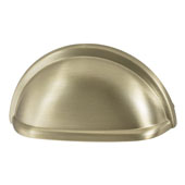 Amerock Collection (3-3/7''W) Cup Pull, Golden Champagne, 87mm W x 41mm D x 25mm H, 76mm Center to Center