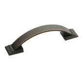 Amerock Candler Collection (5-1/5''W) Handle, Oil-Rubbed Bronze, 132mm W x 19mm D x 30mm H, 96mm Center to Center
