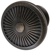 Design Deco Series Amerock Crawford Collection Zinc Round Knob in Oil-Rubbed Bronze, 35mm Diameter x 30mm D (1-3/8'' Diameter x 1-3/16'' D)
