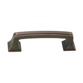 Amerock Mulholland Collection (3-3/4''W) Handle, Oil-Rubbed Bronze, 95mm W x 17mm D x 27mm H, 76mm Center to Center