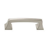 Amerock Mulholland Collection (3-3/4''W) Handle, Satin Nickel, 95mm W x 17mm D x 27mm H, 76mm Center to Center
