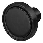 Design Deco Series Amerock Destine Collection Zinc Knob in Matte Black, 35mm Diameter x 25mm D (1-3/8'' Diameter x 1'' D)