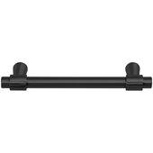 Design Deco Series Amerock Destine Collection Zinc Handle in Matte Black, 125mm W x 33mm D x 10mm H (4-15/16'' W x 1-5/16'' D x 3/8'' H), Center to Center: 96mm (3-3/4'')