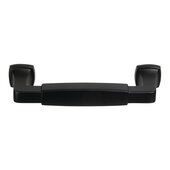 Design Deco Series Amerock Stature Collection Zinc Handle in Matte Black, 148mm W x 35mm D x 14mm H (5-13/16'' W x 1-3/8'' D x 9/16'' H), Center to Center: 128mm (5-1/16'')