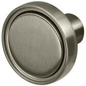 Design Deco Series Amerock Destine Collection Zinc Knob in Satin Nickel, 35mm Diameter x 25mm D (1-3/8'' Diameter x 1'' D)