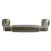 Design Deco Series Amerock Stature Collection Zinc Handle in Satin Nickel, 116mm W x 35mm D x 14mm H (4-9/16'' W x 1-3/8'' D x 9/16'' H), Center to Center: 96mm (3-3/4'')
