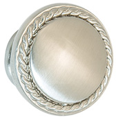 Americana Collection Knob in Stainless Steel look, 30mm Diameter x 23mm D x 18mm Base Diameter, Pack of 5