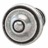 Havana Collection Circular Knob in Pewter, 36mm Diameter x 25mm D x 21mm Base Diameter