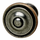 Havana Collection Circular Knob in Pewter & Copper, 36mm Diameter x 25mm D x 21mm Base Diameter