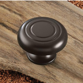 (1-7/16'') Diameter Round Knob in Dark Oil-Rubbed Bronze, 36mm Diameter x 24mm D x 21mm Base Diameter