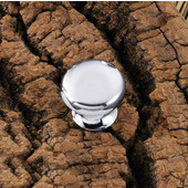 (1'') Diameter Round Knob in Polished Chrome, 25mm Diameter x 22mm D x 18mm Base Diameter