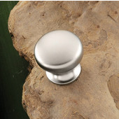(1') Diameter Round Knob in Matt Nickel, 25mm Diameter x 22mm D x 18mm Base Diameter