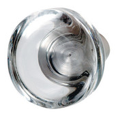 (1-5/8'') Diameter Glass Round Knob in Clear/Stainless Steel, 40mm Diameter x 39mm D x 15mm Base Diameter