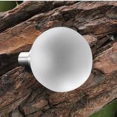 (1-1/4'') Diameter Matt Glass Round Knob in with Stainless Steel Base, 30mm Diameter x 39mm D x 7mm Base Diameter