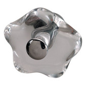 (1-1/4'' Diameter) Clear Glass Top with Polished Chrome Base Knob, 33mm Diameter x 28mm D x 14mm Base Diameter