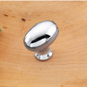 (1-1/4'' W) Oval Knob in Polished Chrome, 30mm W x 30mm D x 19mm H