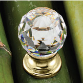 Astral Collection Crystal Knob in Polished Gold, 30mm Diameter x 42mm D x 25mm Base Diameter