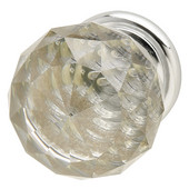 Astral Collection Crystal Knob in Polished Chrome, 30mm Diameter x 42mm D x 25mm Base Diameter
