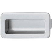 Cornerstone Series Inset Pulls Collection (4-5/16'' W) Mortise Recessed Cabinet Handle in Matt Chrome, 110mm W x 16mm D x 56mm H, Center to Center: 96mm  (3-3/4'')