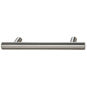 Cornerstone Series Cosmopolitan Collection (5-1/2'' W) Contemporary Bar Pull in Brushed Nickel, 142mm W x 32mm D x 12mm H, Center to Center: 4''