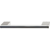 Cornerstone Series Architectural Collection (6'' W) Matt Stainless Steel Center Cabinet Handle with Stainless Steel Look Ends, 148mm W x 38mm D x 10mm H, Center to Center: 128mm  (5-3/64'')
