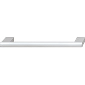Cornerstone Series Contemporary (7-1/2'' W) Aluminum Cabinet Handle in Silver Colored Anodized with 2 Bases, 190mm W x 35mm D x 12mm H, Center to Center: 160mm (6-5/16'')
