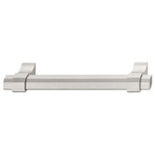Design Deco Series Urban Collection Aluminum Handle in Satin/Brushed Nickel, 163mm W x 36mm D x 16.8mm H (6-7/16'' W x 1-7/16'' D x 11/16'' H), Center to Center: 128mm (5-1/16'')