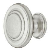 Design Deco Series Farmhouse Collection Zinc Knob in Satin/Brushed Nickel, 34mm Diameter x 25mm D (1-5/16'' Diameter x 1'' D)