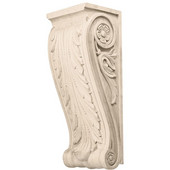 Häfele Acanthus Collection Corbel Hand Carved Acanthus Design, 5'' W x 4-1/4'' D x 13-1/2'' H, Maple