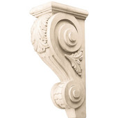 Häfele Acanthus Collection Corbel Hand Carved Acanthus Design, 3-5/8'' W x 6-1/4'' D x 12'' H, Maple