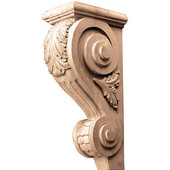 Häfele Acanthus Collection Corbel Hand Carved Acanthus Design, 3-5/8'' W x 6-1/4'' D x 12'' H, Cherry