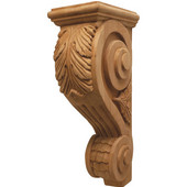 Häfele Acanthus Collection Corbel Hand Carved Acanthus Design, 4-1/8'' W x 7-5/8'' D x 14'' H, Cherry