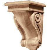 Häfele Scroll Collection Corbel, Rosette, Red Oak, 5-3/4'' W x 6-1/16'' D x 9'' H