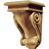 Scroll Collection Corbel, Rosette, Alder, 5-3/4''W x 6-1/16''D x 9''H