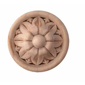 H�fele Wood Ornament, Round, Flower, Turned Embossed, Rosette, 2-1/8'' Dia. x 21/32'' D, Maple