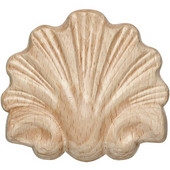 Häfele Wood Ornament, Onlay, Carved, Shell, 3-1/4'' W x 11/32'' D x 2-15/16'' H, Maple