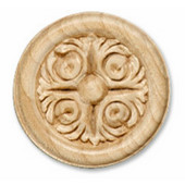 Häfele Acanthus Collection Ornament, Carved, 2-1/8'' Dia. 3/8'' D, Cherry