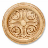 H�fele Acanthus Collection Carved Ornament, Round, 2-7/8'' Dia. x 3/8'' D, Cherry