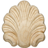 Häfele Wood Ornament, Onlay, Carved, Shell, 2-1/2'' W x-1/2'' D x 2-3/4'' H, Maple