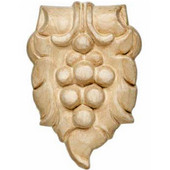 Häfele Bordeaux Collection Hand Carved Ornament Grape Design, 2-5/16'' W x 5/8'' D x 3-1/2'' H, Beech