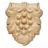 H�fele Bordeaux Collection Hand Carved Ornament Grape Design, 3-3/16'' W x 5/8'' D x 3-5/8'' H, Cherry