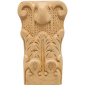 H�fele Acanthus Collection Onlay Ornament, Carved, 2-7/8'' W x 1-9/16'' D x 5'' H, Maple