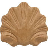 H�fele Wood Ornament, Onlay, Carved, Shell, 3-1/4'' W x 11/32'' D x 2-15/16'' H, Cherry