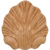 Häfele Wood Ornament, Onlay, Carved, Shell, 2-1/2'' W x-1/2'' D x 2-3/4'' H, Cherry