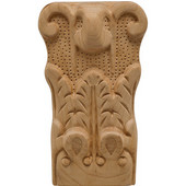 H�fele Acanthus Collection Onlay Ornament, Carved, 2-7/8'' W x 1-9/16'' D x 5'' H, Cherry