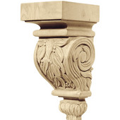 Häfele Chateau Collection Hand Carved Corbel, Leaves Motif, 2-7/8'' W x 3'' D x 6'' H, Maple