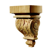 Häfele Chateau Collection Hand Carved Corbel, Leaves Motif, 2-7/8'' W x 3'' D x 6'' H Oak