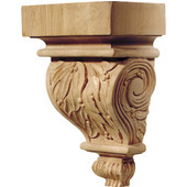 Häfele Chateau Collection Corbel, Hand Carved, Leaves Motif, 5-7/8'' W x 4'' D x 9'' H, Cherry