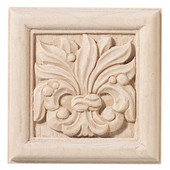 Häfele Chateau Collection Onlay, Hand Carved, Leaves Motif, 2-7/8'' W x 3/4'' D x 2-7/8'' H, Maple